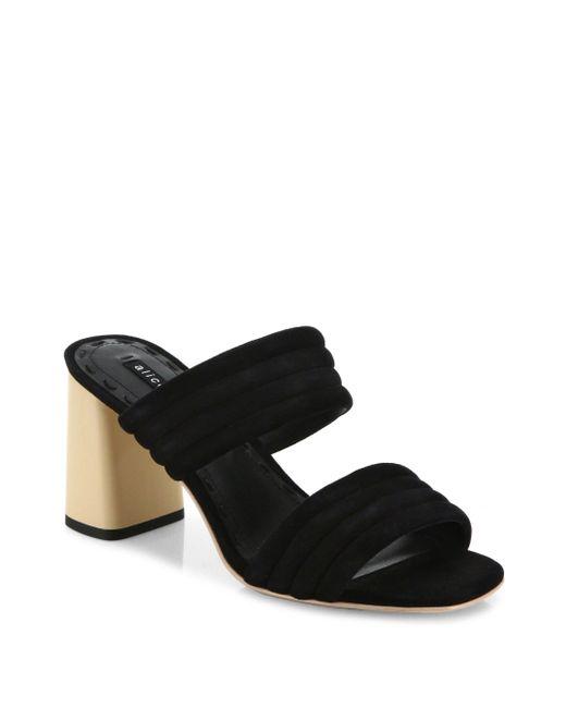 Alice + Olivia | Black Colby Suede Block Heel Slide Sandals | Lyst