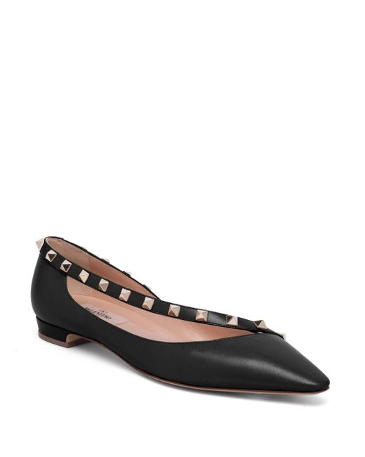 Valentino | Black Rockstud Leather D'orsay Flats | Lyst