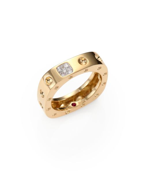 Roberto Coin | Metallic Pois Moi Diamond & 18k Yellow Gold Single-row Square Ring | Lyst