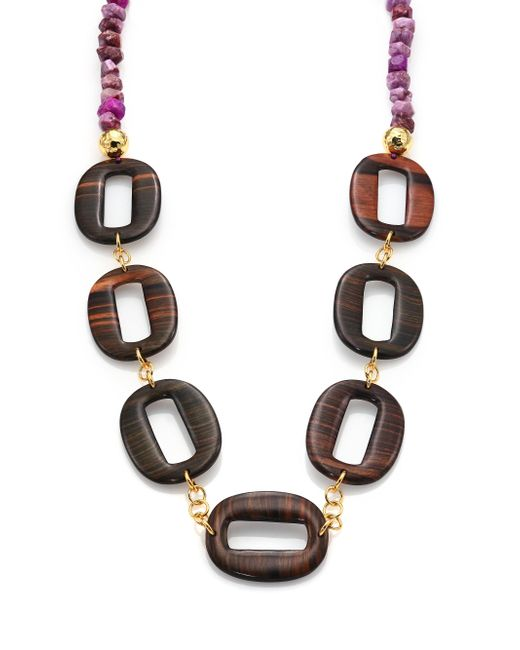 Nest - Purple Agate & Ebony Wood Link Long Necklace - Lyst