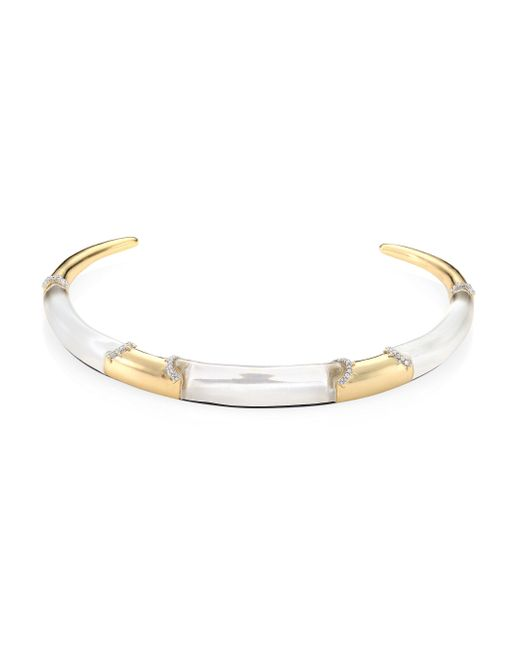 Alexis Bittar | Metallic Lucite Pave Edge Segment Collar Necklace | Lyst