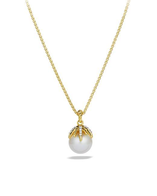 David Yurman - Metallic Starburst Pearl Pendant With Diamonds In Gold On Chain - Lyst