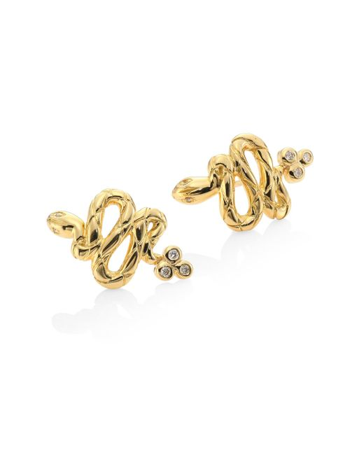 Temple St. Clair - Metallic Serpent Diamond & 18k Yellow Gold Stud Earrings - Lyst