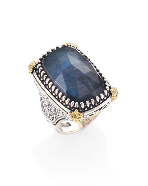 Konstantino - Blue Cassiopeia Doublet Spectrolite, 18k Yellow Gold, & Sterling Silver Ring - Lyst