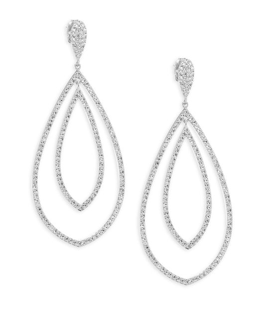 Adriana Orsini - Metallic Double Drop Crystal Earrings - Lyst