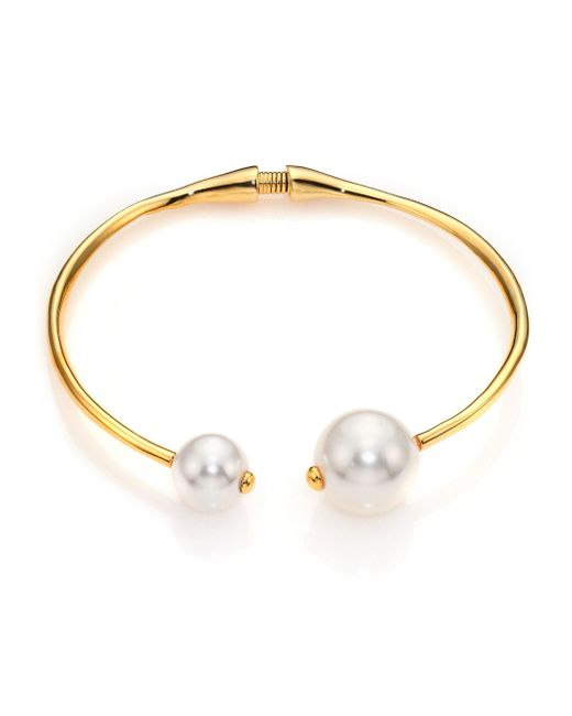 Kenneth Jay Lane - Metallic Faux Pearl Tip Collar Necklace - Lyst