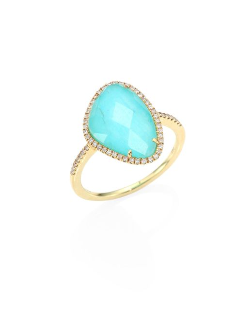 Meira T | Multicolor Diamond, Turquoise & 14k Yellow Gold Ring | Lyst