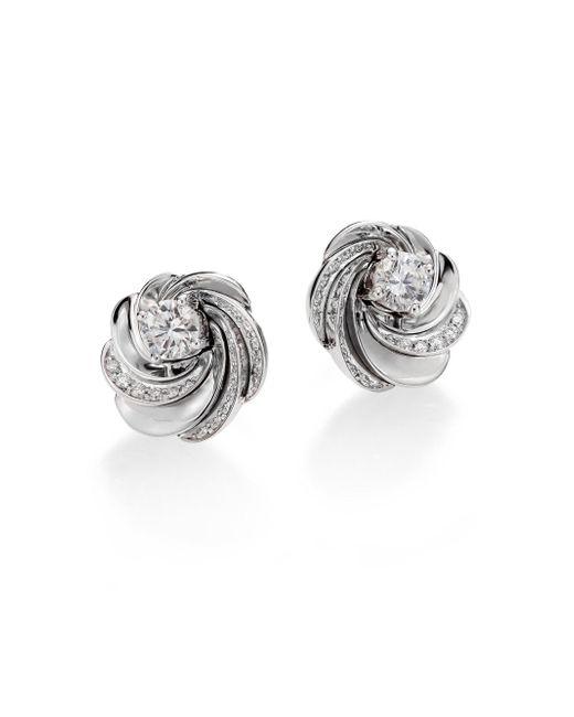 De Beers - Metallic Aria Diamond & 18k White Gold Signature Stud Earrings - Lyst