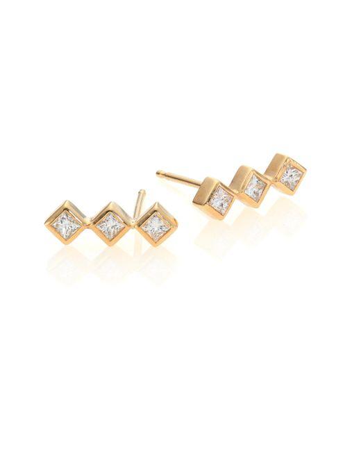 Zoe Chicco - Metallic Diamond & 14k Yellow Gold Princess Stud Earrings - Lyst