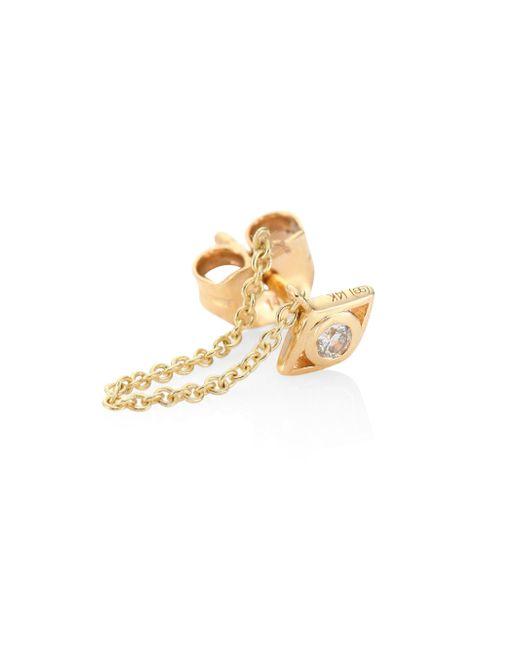 Sydney Evan | Metallic Small Open Evil Eye Diamond & 14k Yellow Gold Single Draped Stud Earring | Lyst