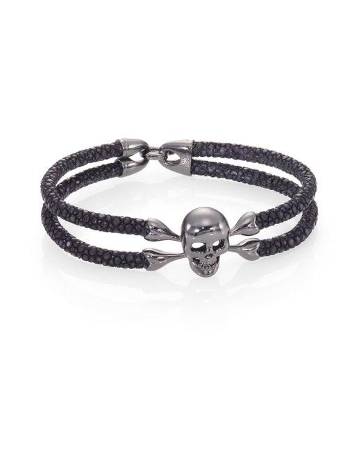 Stinghd - Blackened Silver & Stingray Skull Wrap Bracelet for Men - Lyst