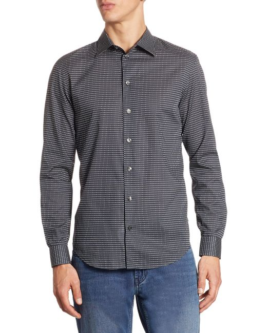 Lyst Armani Patterned Cotton Button Down Shirt In Black