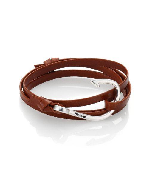 Miansai | Brown Silver Tone Hook Leather Bracelet for Men | Lyst