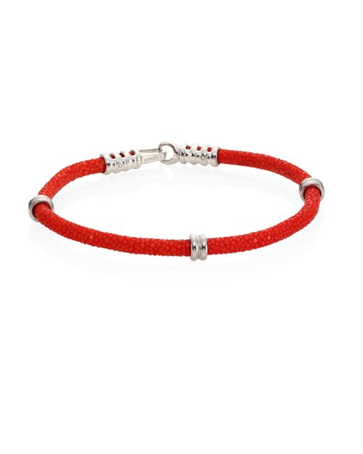 Stinghd - Red Pure Silver & Stingray Bracelet - Lyst