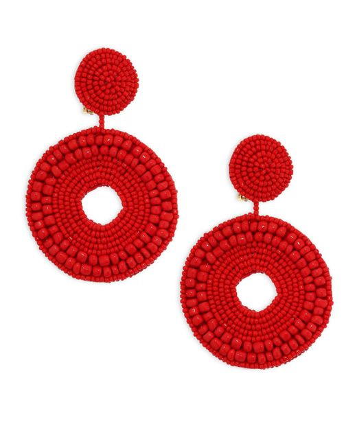 Kenneth Jay Lane | Red Seed Bead Circle Clip-on Earrings | Lyst