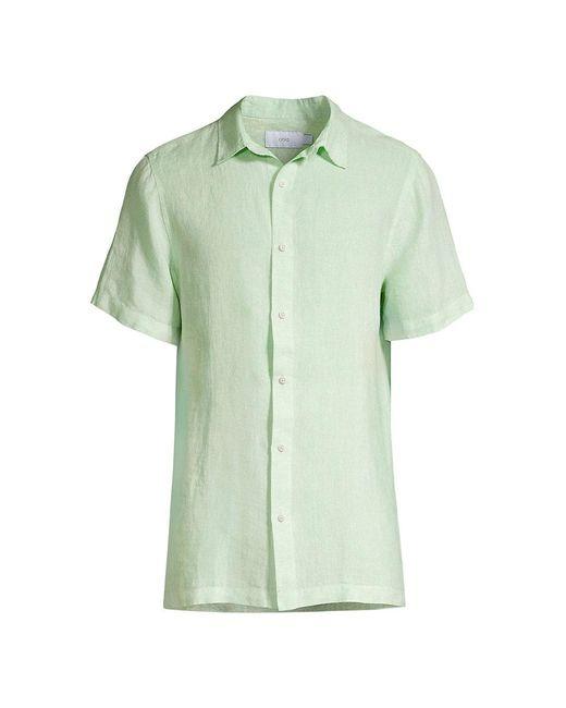 Onia Green Samuel Linen Shirt for men