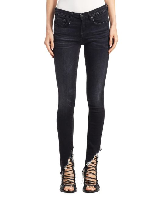 R13 - Blue Women's Kate Dark Ankle Shredded Hem Skinny Jeans - Dark Moon - Size 25 (2) - Lyst