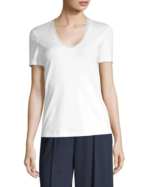 Lafayette 148 New York - White Grace Chain-trim Top - Lyst