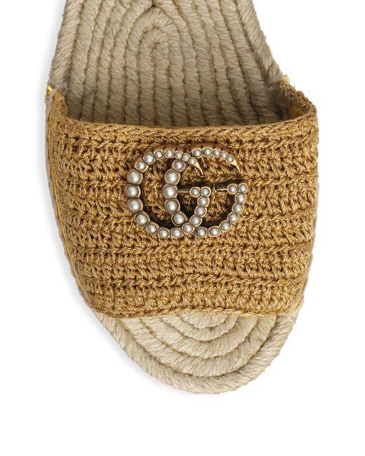 8906ee9ab33 Women's Metallic GG Crochet Platform Sandals