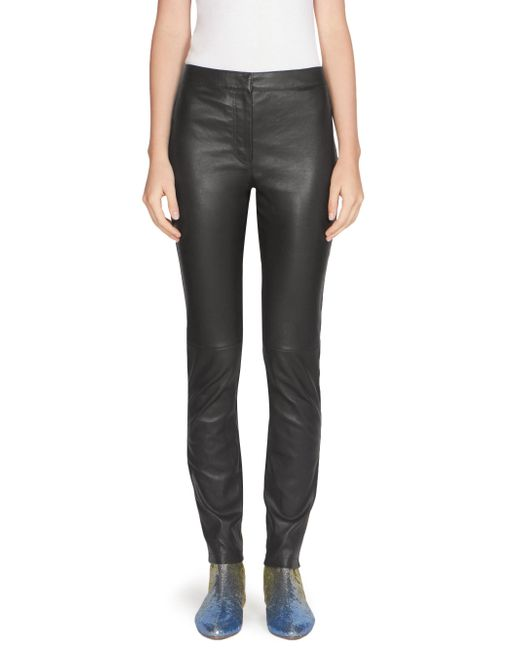 Loewe | Black Solid Leather Leggings | Lyst