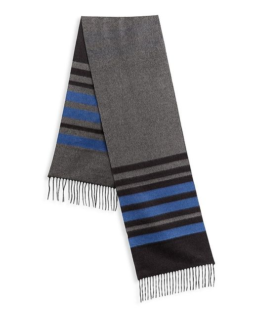 Saks Fifth Avenue Gray Collection Striped Silk & Cashmere Scarf for men
