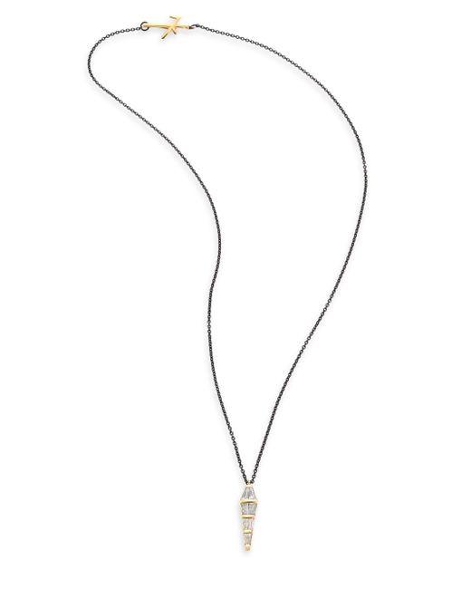 Nikos Koulis - Metallic Tapered Diamond & 18k Black Gold Pendant Necklace - Lyst