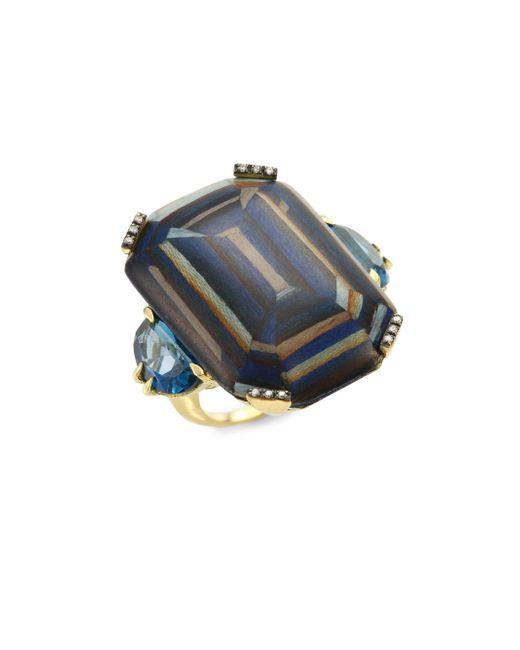 Silvia Furmanovich - Metallic Marquetry Light Brown Diamonds, Blue Topaz & 18k Yellow Gold Ring - Lyst
