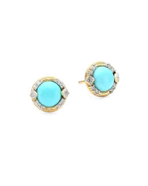 Jude Frances - Metallic Lisse Diamond Pavé 18k Gold Turquoise Stud Earrings - Lyst