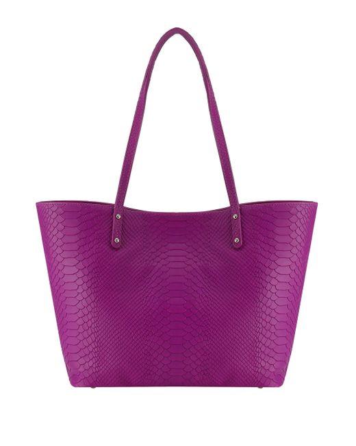 Gigi New York - Purple Taylor Mini Python-embossed Tote - Lyst