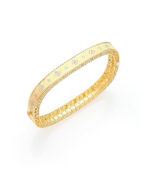 Roberto Coin - Metallic Princess Diamond & 18k Yellow Gold Bangle Bracelet - Lyst