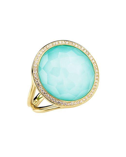 Ippolita Blue Lollipop® 18k Yellow Gold Diamond & Turquoise Ring