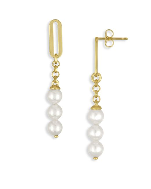 Majorica | Metallic 6mm Organic Organic Pearl Linear Drop Earrings | Lyst