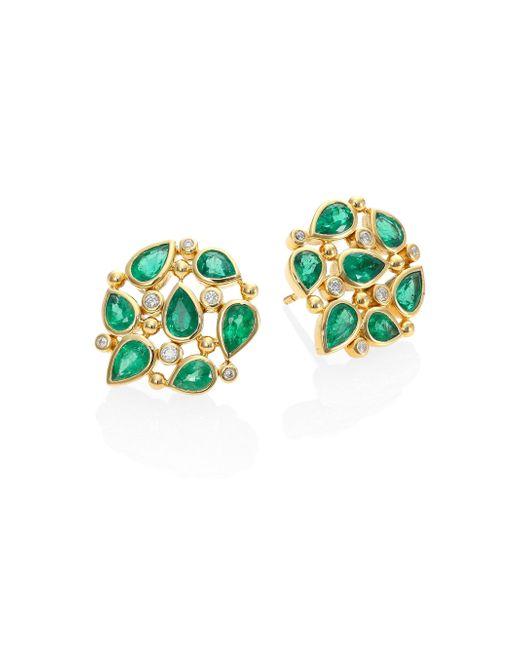 Temple St. Clair - Metallic Pear Cluster Diamond, Emerald & 18k Yellow Gold Stud Earrings - Lyst