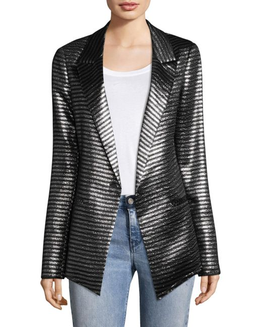 RTA - Gray Iggy Striped Metallic Blazer - Lyst