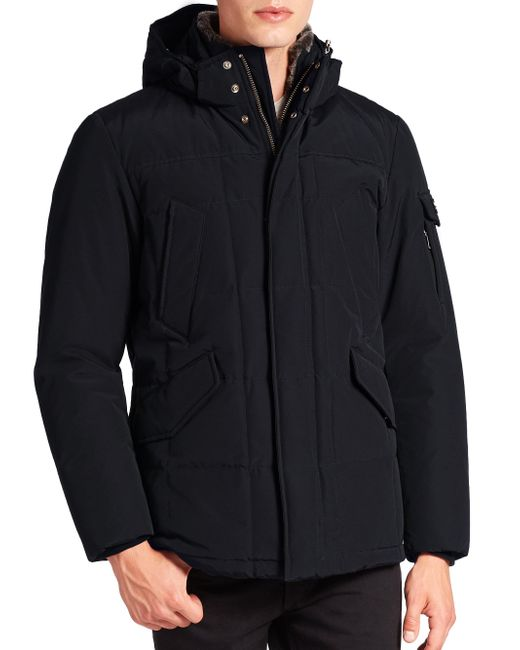 Woolrich Black Zipped Jacket With Wool And Cotton for men