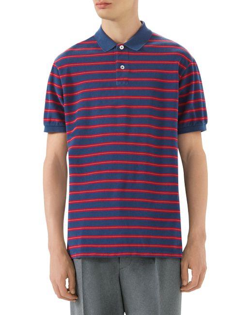 53c956cf4e5d Gucci - Men s Stonewashed Stripe Cotton Polo Shirt - Inchiostro Blue for  Men ...