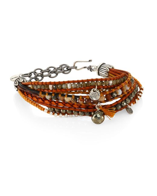 Chan Luu | Pyrite, Brown Sardonyx, Abalone, Labradorite & Leather Multi-strand Bracelet | Lyst