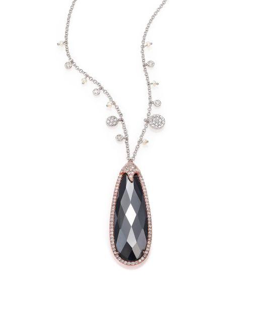 Meira T | Metallic Hematite, Diamond, 14k Rose & White Gold Teardrop Pendant Necklace | Lyst