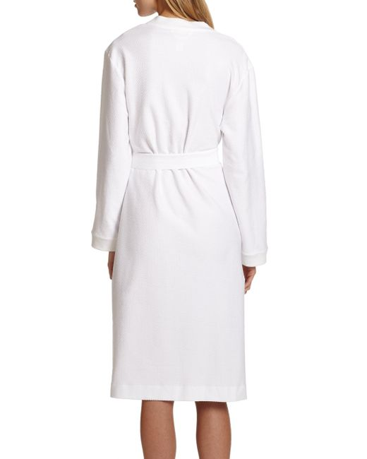 Lyst hanro cotton robe in white for Saks 5th avenue robes de mariage
