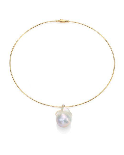 Mizuki - Metallic 27mm White Freshwater Pearl, Diamond & 14k Yellow Gold Collar Necklace - Lyst
