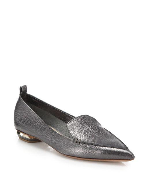 Nicholas Kirkwood - Bottal Metallic Leather Point Toe Loafers - Lyst