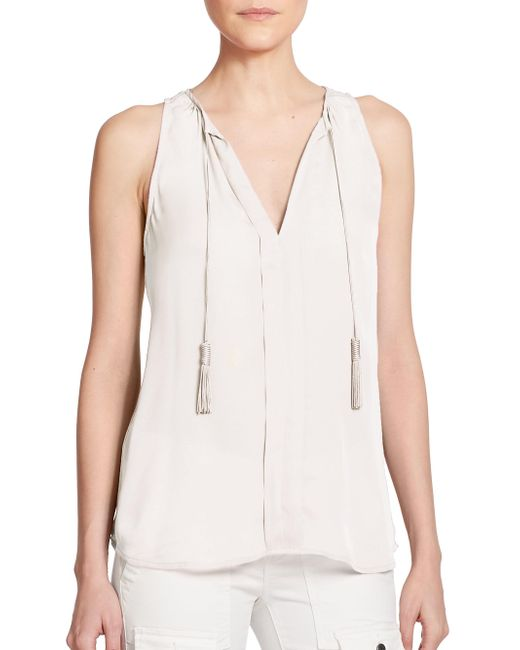 Joie | White Airlan Silk Sleeveless Top | Lyst