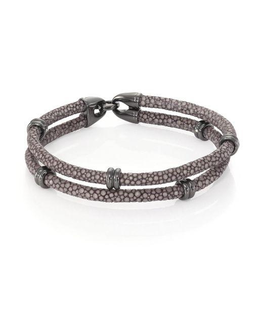 Stinghd - Blackened Silver & Stingray Wrap Bracelet for Men - Lyst