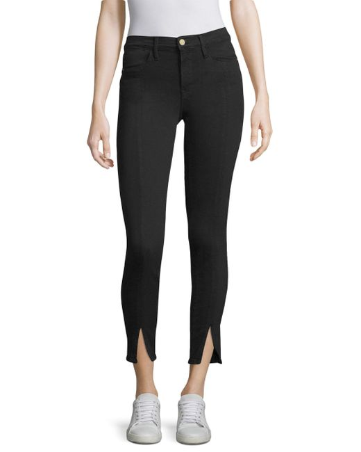 FRAME - Black High Rise Skinny Ankle Split Jeans - Lyst