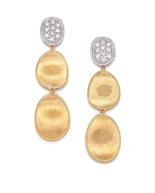 Marco Bicego - Metallic Lunaria Diamond & 18k Yellow Gold Triple-drop Earrings - Lyst
