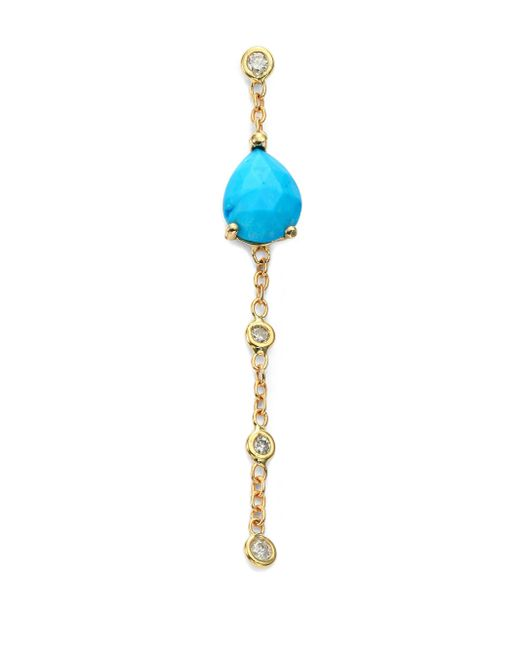 Jacquie Aiche - Metallic Turquoise, Diamond & 14k Yellow Gold Chain Single Drop Earring - Lyst