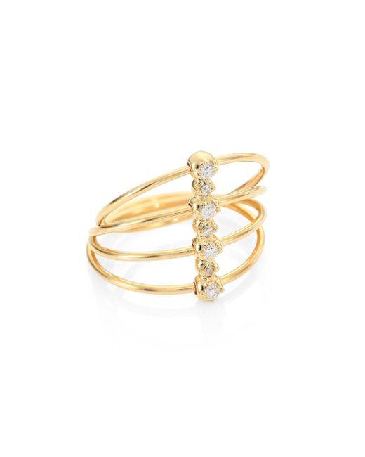 Mizuki - Metallic Diamond & 14k Yellow Gold Four-band Ring - Lyst