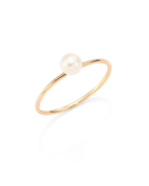 Zoe Chicco - Metallic 4mm White Freshwater Pearl & 14k Yellow Gold Ring - Lyst