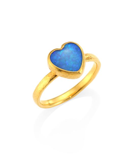 Gurhan - Metallic Amulet Hue Opal & 22-24k Yellow Gold Heart Ring - Lyst