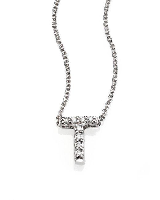 Roberto Coin | Tiny Treasures Diamond & 18k White Gold Love Letter Pendant Necklace | Lyst